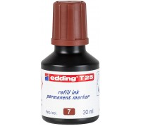 Чернила промышленные Edding (Эддинг) T 25, 30 мл, коричневые 007, для заправки перманентных маркеров E-2000, 2000 C, 2200, 2200 C, No.1, 400, 404, 500, 800, 850, 353, 370, 390