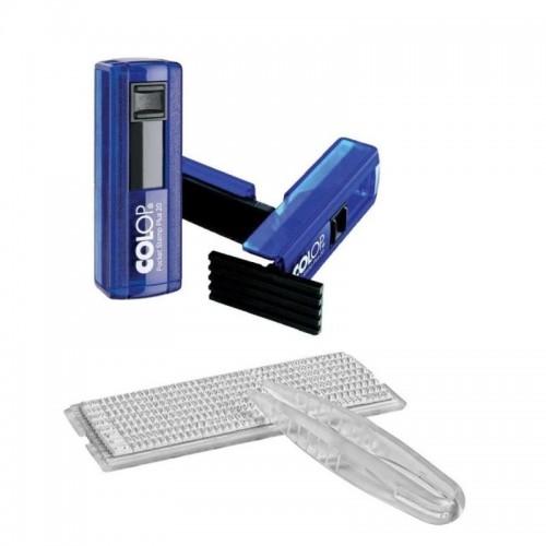 Штамп самонаборный карманный Colop Pocket Stamp Plus 20 SET, 4 строки с 1-ой кассой, индиго