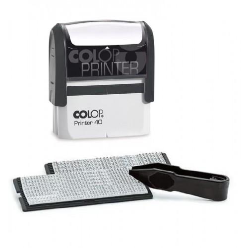 Штамп самонаборный пластиковый Colop Printer 40N SET-F, с двумя кассами, 6 строк без рамки, 4 строки с рамкой, черный