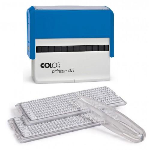Штамп самонаборный пластиковый Colop Printer 45N SET-F, с двумя кассами, 7 строк без рамки, 5 строк с рамкой, синий