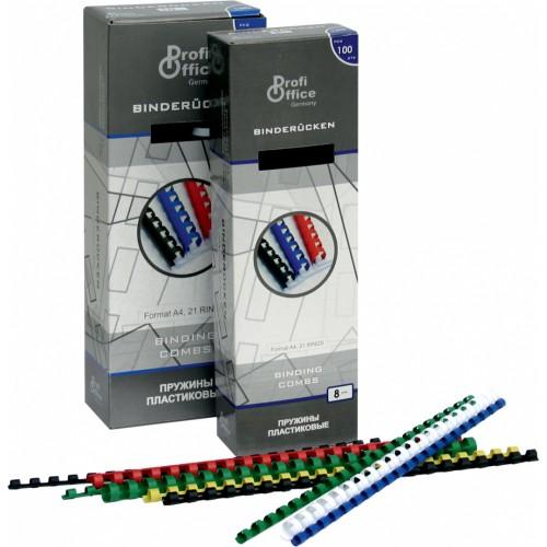 Пружины пластиковые для переплёта ProfiOffice 10 мм белые 100 шт./уп.