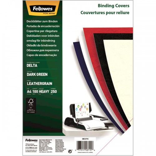 Обложки для переплёта картонные Fellowes (Феллоуз) Delta А4 с тиснением под кожу зеленые 100 шт./уп. FS-5371501