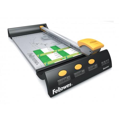 Резак дисковый для бумаги Fellowes (Феллоуз) Electron А4 10 л. 4 картриджа (прямой, биговка, пунктир, волна) SafeCutGuide FS-5410401