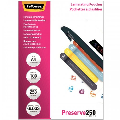 Плёнка для ламинирования Fellowes (Феллоуз) А4 250 мкм 100 шт./уп. FS-54018