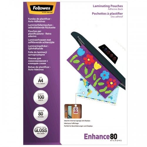 Плёнка для ламинирования Fellowes (Феллоуз) А4 80 мкм с клеящим слоем 100 шт./уп. FS-53022
