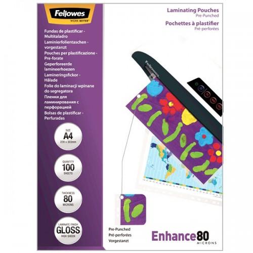 Плёнка для ламинирования Fellowes (Феллоуз) с перфорацией А4 80 мкм 100 шт./уп. FS-5452501