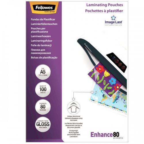 Плёнка для ламинирования Fellowes (Феллоуз) А5 154x216 мм 80 мкм трехслойная 100 шт./уп. FS-53060