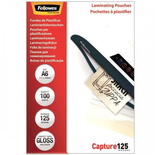 Плёнка для ламинирования Fellowes (Феллоуз) 111x154 мм 125 мкм трехслойная 100 шт./уп. FS-53072