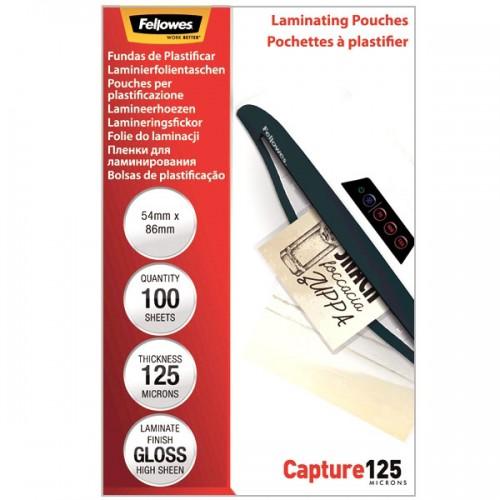 Плёнка для ламинирования Fellowes (Феллоуз) 54x86 мм 125 мкм трехслойная 100 шт./уп. FS-53063