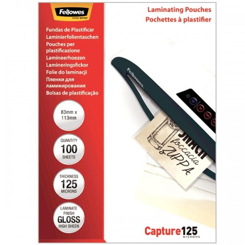 Плёнка для ламинирования Fellowes (Феллоуз) 83x113 мм 125 мкм трехслойная 100 шт./уп. FS-53071