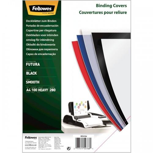 Обложки для переплёта Fellowes (Феллоуз) Futura А4 черные полипропилен 100 шт./уп. FS-54766