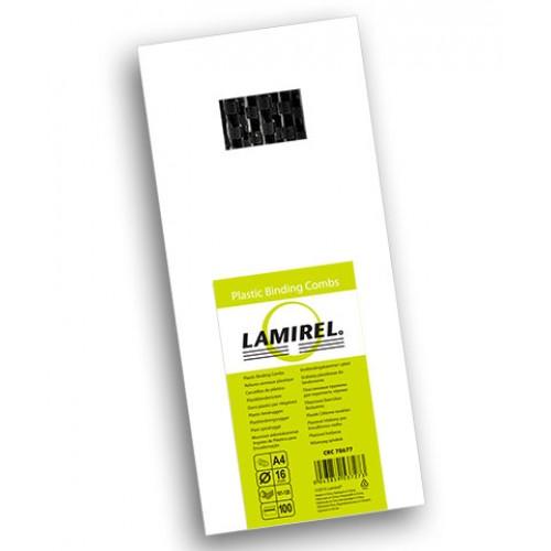 Пружина пластиковая для переплёта Fellowes (Феллоуз) Lamirel 16 мм черная 100 шт./уп. LA-7867701