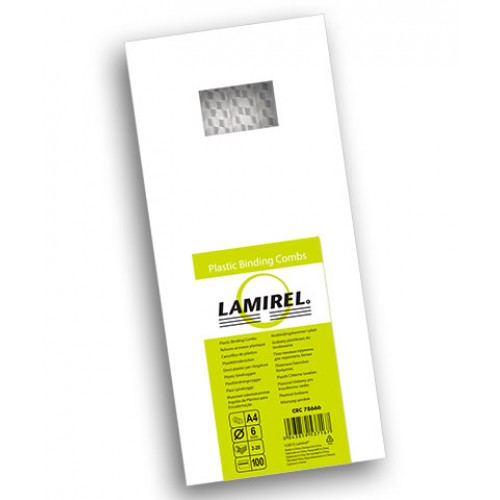 Пружина пластиковая для переплёта Fellowes (Феллоуз) Lamirel 6 мм белая 100 шт./уп. LA-7866602