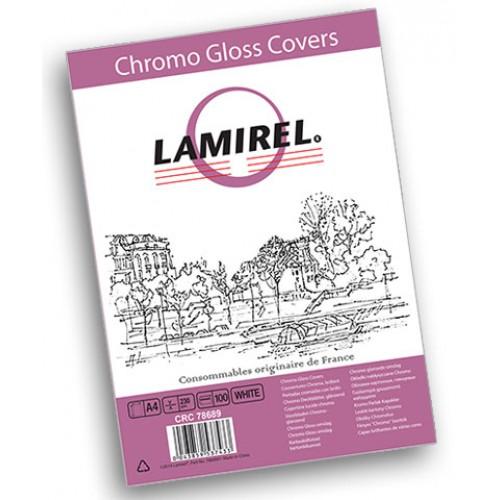 Обложки для переплёта картонные глянцевые Lamirel Chromolux A4 белые 230 г/м2, 100 шт./уп. LA-7868901