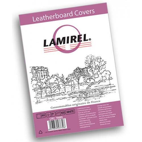 Обложки для переплёта картонные Lamirel Delta A4 с тиснением под кожу белые 230г/м2, 100 шт./уп. LA-7868501