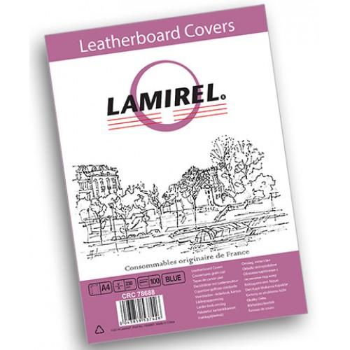 Обложки для переплёта картонные Lamirel Delta A4 с тиснением под кожу синие 230г/м2, 100 шт./уп. LA-7868801