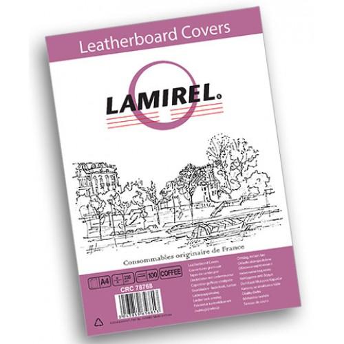 Обложки для переплёта картонные Lamirel Delta A4 с тиснением под кожу кофейные 230г/м2, 100 шт./уп. LA-7876801