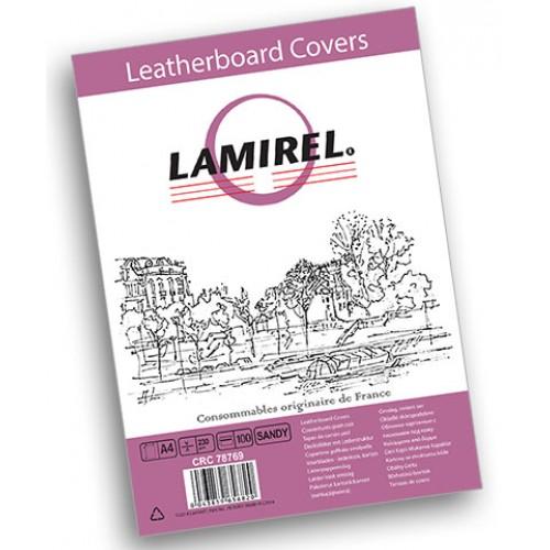 Обложки для переплёта картонные Lamirel Delta A4 с тиснением под кожу песочные 230г/м2, 100 шт./уп. LA-7876901