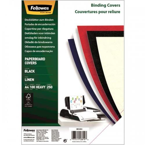 Обложки для переплёта картонные Fellowes (Феллоуз) Linen А4 с тиснением под лен черные 100 шт./уп. FS-5381401