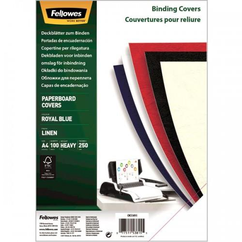 Обложки для переплёта картонные Fellowes (Феллоуз) Linen А4 с тиснением под лен синие 100 шт./уп. FS-5381501