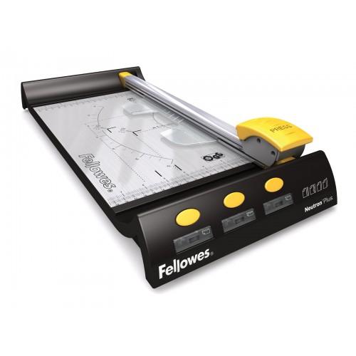 Резак дисковый для бумаги Fellowes (Феллоуз) Neutron Plus A4 10 л. SafeCut 4 картриджа (прямой, биговка, пунктир, волна) FS-5410101