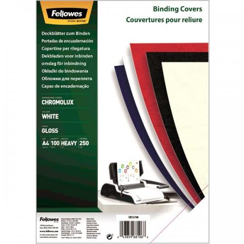 Обложки для переплёта Fellowes (Феллоуз) Chromolux А4 глянцевый картон белые 100 шт./уп. FS-5378001