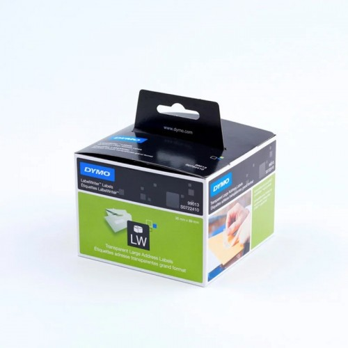 Этикетки адресные Dymo, 36х89 мм, 260 штук в рулоне, прозрачные пластиковые S0722410