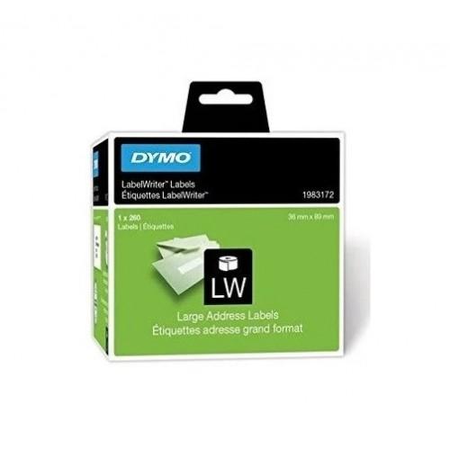 Этикетки адресные Dymo, 36х89мм, 1х260 штук в рулоне, белая лента, шрифт черный