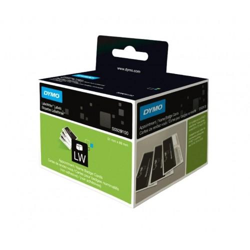 Этикетки картонные Dymo для бейджей, 89х51мм, 300 штук в рулоне, без клея