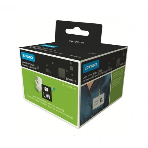 Этикетки картонные Dymo для бейджей, 106х62мм, 250 штук в рулоне, без клея