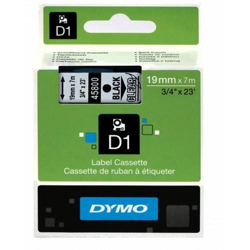 Картридж Dymo D1 с виниловой лентой, 19мм х 7м, черный на прозрачной ленте, пластик S0720820