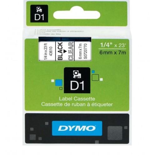 Картридж Dymo D1 с виниловой лентой, 6мм х 7м, пластик, черный на прозрачной ленте S0720770