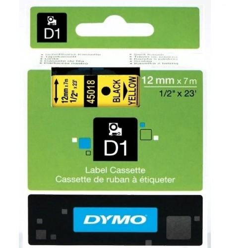 Картридж Dymo D1 с виниловой лентой, 12мм х 7м, пластик, черный на желтой ленте S0720580