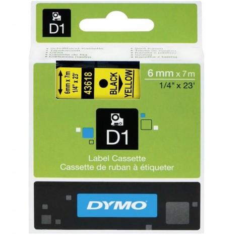 Картридж Dymo D1 с виниловой лентой, 6мм х 7м, пластик, черный на желтой ленте S0720790