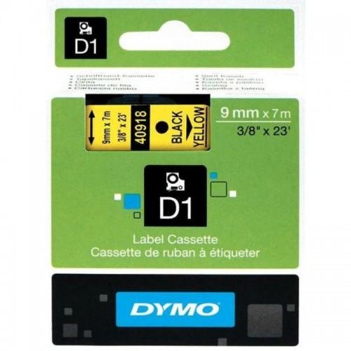 Картридж Dymo D1 с виниловой лентой, 9мм х 7м, пластик, черный на желтой ленте S0720730