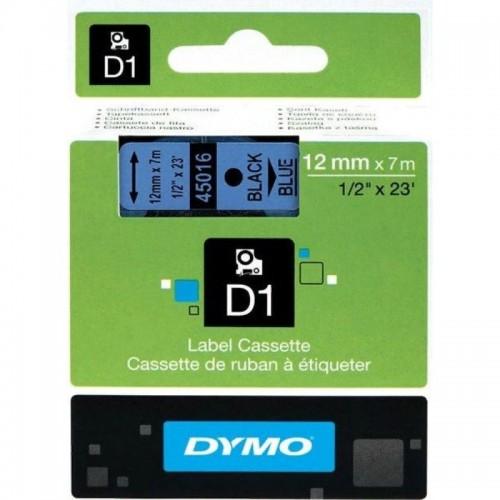 Картридж Dymo D1 с виниловой лентой, 12мм х 7м, пластик, черный на голубой ленте S0720560