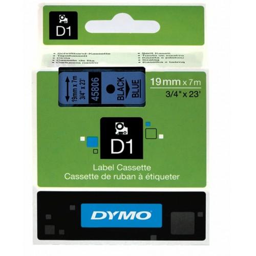 Картридж Dymo D1 с виниловой лентой, 19 мм х 7м, пластик, черный на синей ленте S0720860