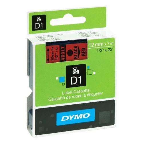 Картридж Dymo D1 с виниловой лентой, 12мм х 7м, пластик, черный на красной ленте S0720570