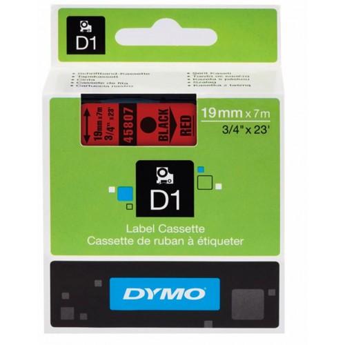 Картридж Dymo D1 с виниловой лентой, 19 мм х 7м, пластик, черный на красной ленте S0720870