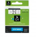 Картридж Dymo D1 с виниловой лентой, 6мм х 7м, пластик, черный на белой ленте S0720780