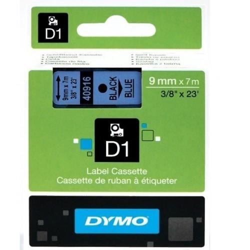 Картридж Dymo D1 с виниловой лентой, 9мм х 7м, пластик, черный на голубой ленте S0720710