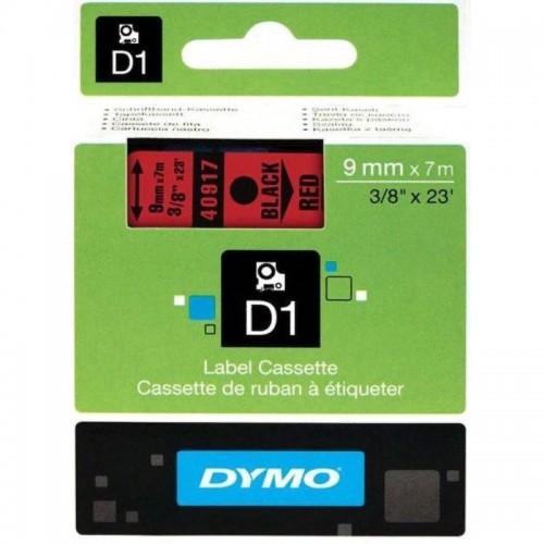 Картридж Dymo D1 с виниловой лентой, 9мм х 7м, пластик, черный на красной ленте S0720720