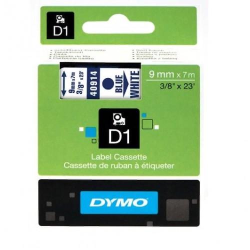 Картридж Dymo D1 с виниловой лентой, 9мм х 7м, пластик, голубой на белой ленте S0720690