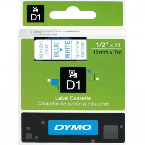 Картридж Dymo D1 с виниловой лентой, 12мм х 7м, пластик, голубой на белой ленте S0720540