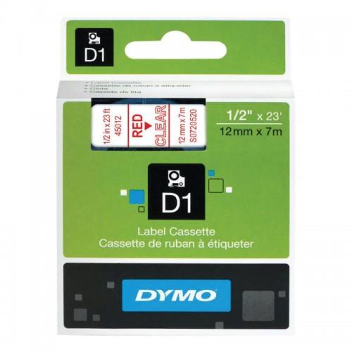 Картридж Dymo D1 с виниловой лентой, 12мм х 7м, пластик, красный на прозрачном S0720520