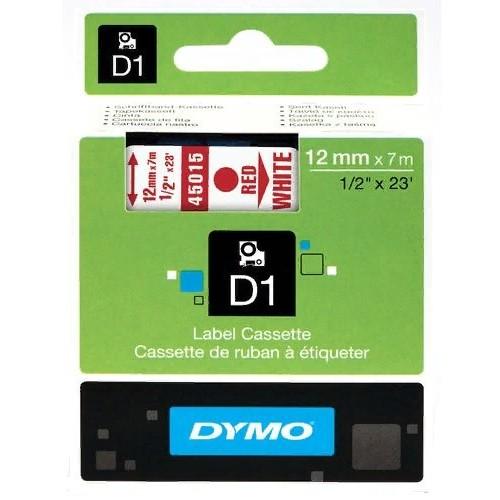 Картридж Dymo D1 с виниловой лентой, 12мм х 7м, пластик, красный на белой ленте S0720550