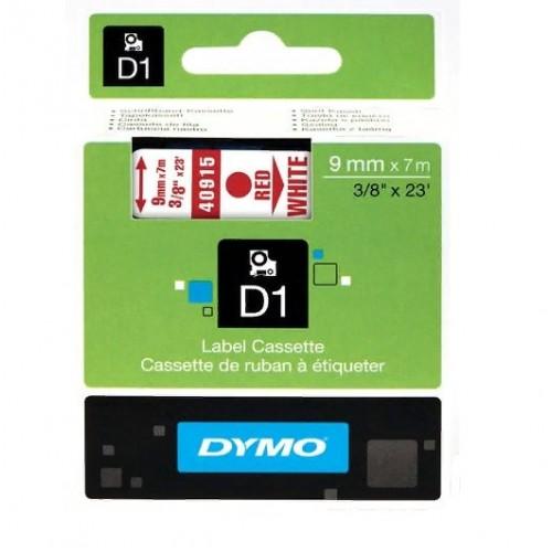 Картридж Dymo D1 с виниловой лентой, 9мм х 7м, пластик, красный на белой ленте S0720700