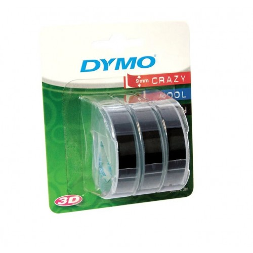Лента Dymo для механических принтеров, 9мм х 3м, пластиковая, черная, 3шт. в блистере S0847730