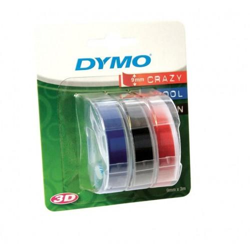Лента Dymo для механических принтеров, 9мм х 3м, пластиковая, черная, синяя, красная, 3шт. в блистере S0847750