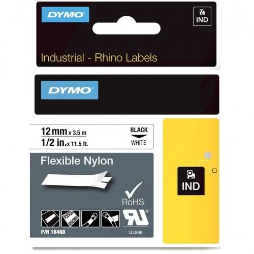 Лента нейлоновая Dymo для неровных поверхностей и кабелей, 12ммx3,5м, черный на белой ленте
